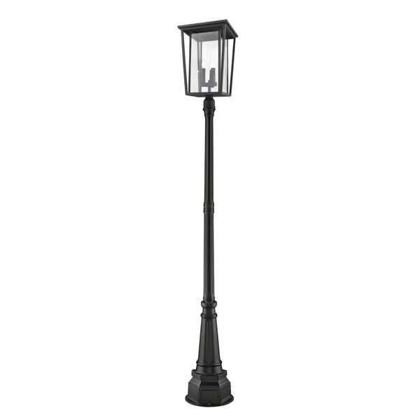 Seoul Black Three-Light Outdoor Post Mounted Fixture With Transparent Glass, image 1