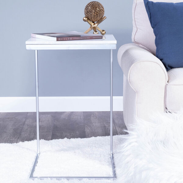 Lawler Nickel Metal and Marble End Table, image 1