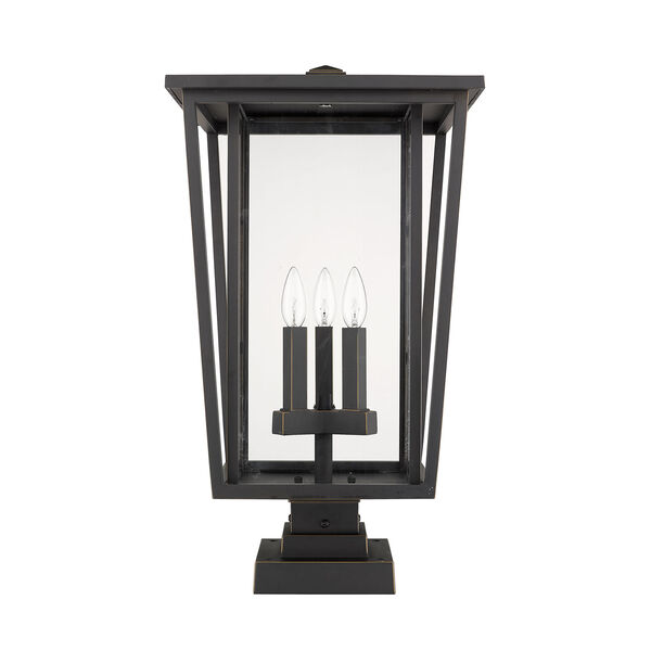 Seoul Oil Rubbed Bronze Three-Light Outdoor Pier Mounted Fixture With Transparent Glass, image 4