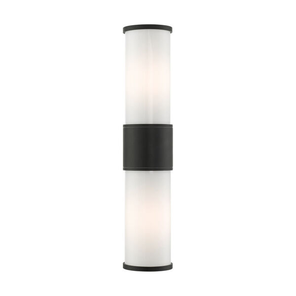 Landsdale Textured Black Two-Light Outdoor Wall Lantern, image 1
