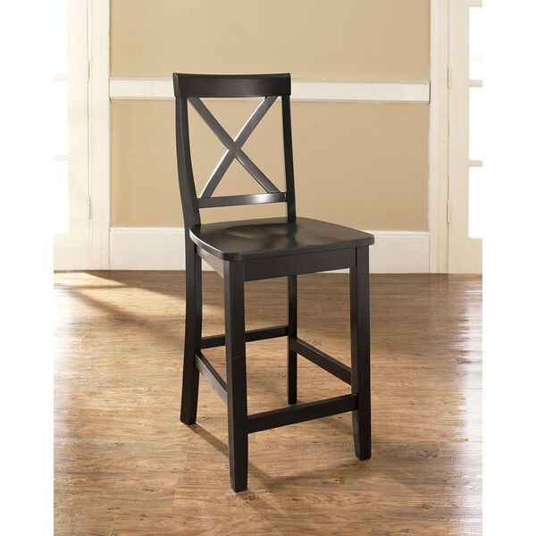X-Back Bar Stool in Black Finish with 24 Inch Seat Height- Set of Two, image 5