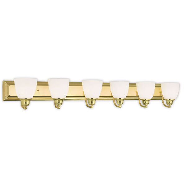 Springfield Polished Brass 48-Inch Six-Light Bath Light, image 1