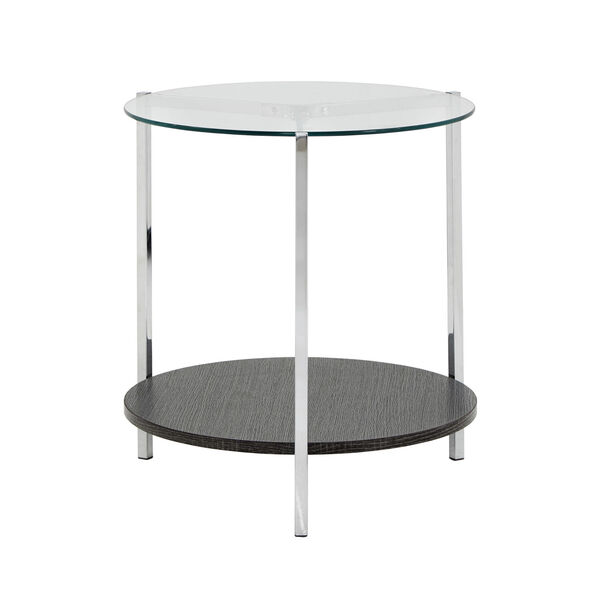Alexia Chrome End Table with Glass Top, image 3