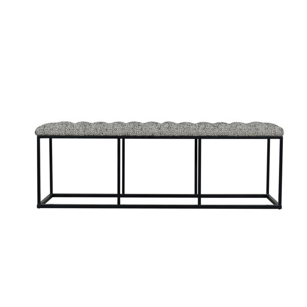 Black and White 52-Inch Fabric and Metal Bench, image 1