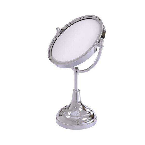 Polished Chrome Eight-Inch Vanity Top Make-Up Mirror 2X Magnification, image 1