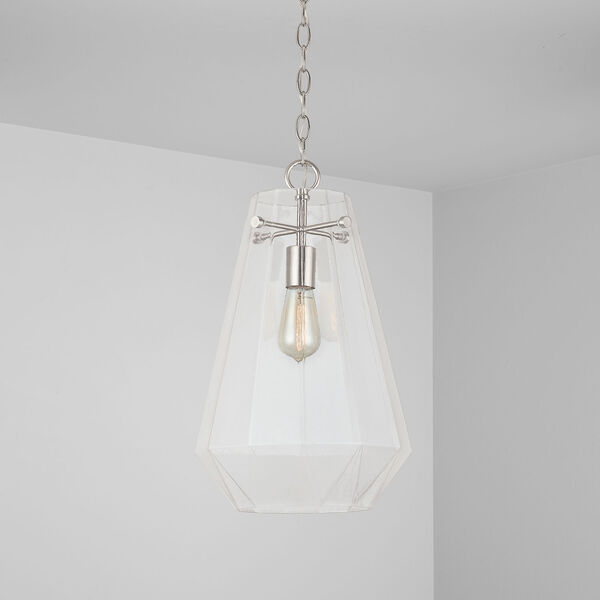 One-Light Pendant with Clear Prismatic Glass, image 3