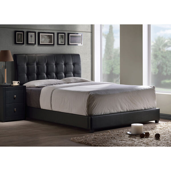 Lusso Full Bed Set with Black Faux Leather Fabric, image 1