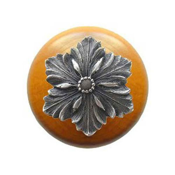 Maple Opulent Flower Knob with Antique Pewter, image 1