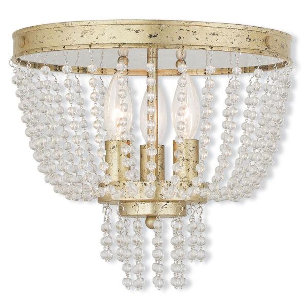 Valentina Hand Applied Winter Gold 12.5-Inch Three-Light Flush Mount, image 1