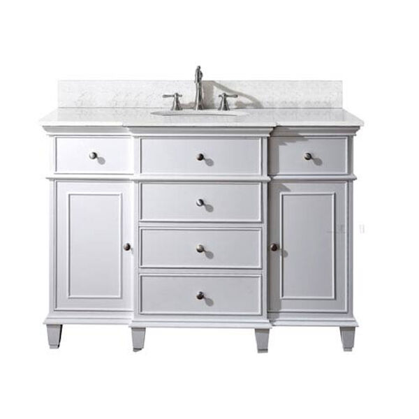 Windsor 48-Inch White Vanity with Carrera White Marble top and Undermount Sink, image 1