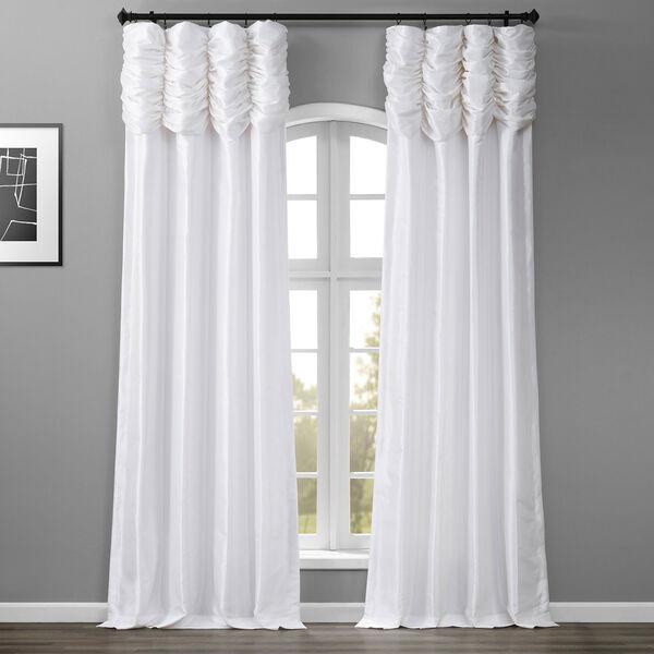 Ruched Eggshell 108 x 50-Inch Faux Silk Taffeta Curtain Single Panel, image 1