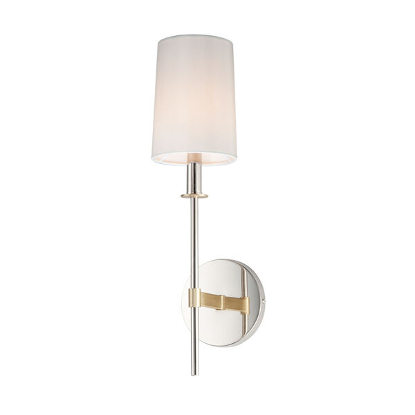 Uptown Satin Brass and Polished Nickel One-Light Wall Sconce, image 1