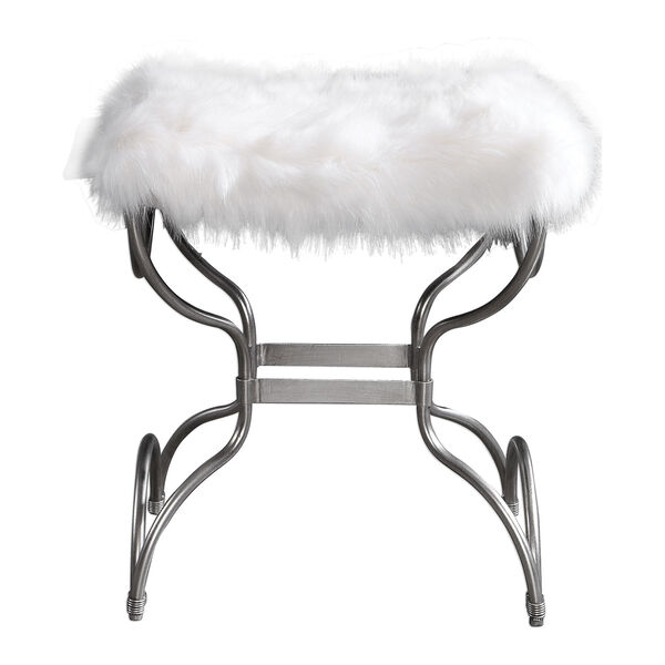 Channon White Fur Small Bench, image 1