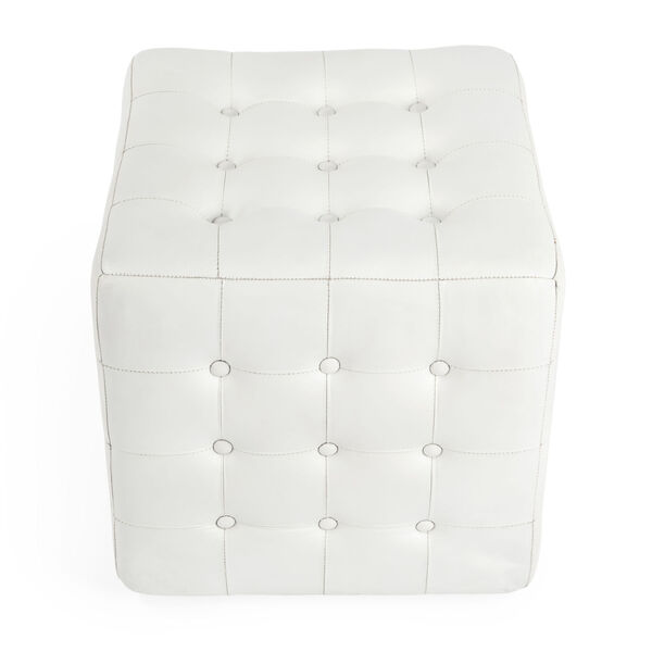 Accent Seating Leon White Leather Ottoman, image 2