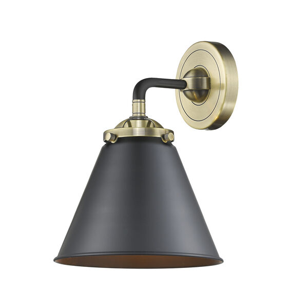 Nouveau Black Antique Brass Nine-Inch One-Light Wall Sconce with Matte Black Metal Shade, image 1