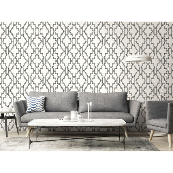 NextWall Black and White Tile Trellis Peel and Stick Wallpaper, image 3