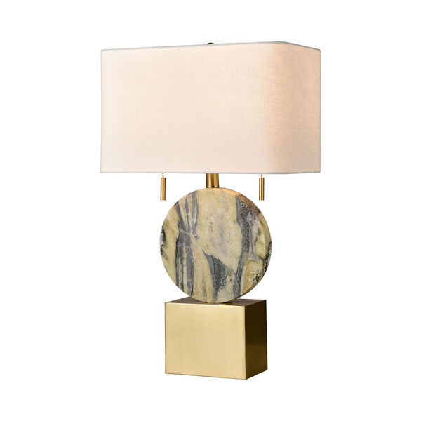 Carrin Natural Stone and Honey Brass Two-Light Table Lamp, image 1