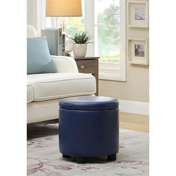 Designs4Comfort Blue Round Accent Storage Ottoman, image 1