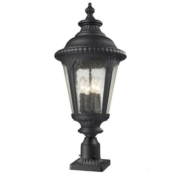 Medow Four-Light Black Outdoor Pier Mount with Clear Seedy Glass, image 1