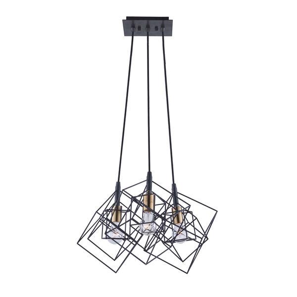 Artistry Matte Black and Harvest Brass 28-Inch Three-Light Geometric Chandelier, image 1