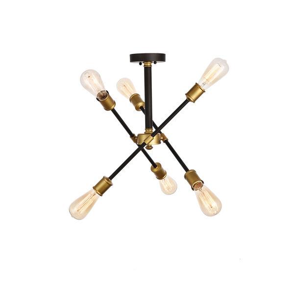 Axel Black and Brass 17-Inch Six-Light Semi-Flush Mount, image 1