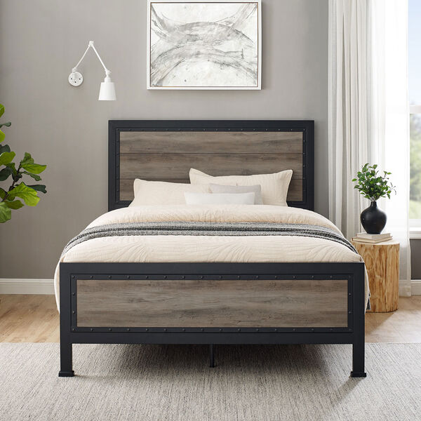 Queen Size Industrial Wood and Metal Bed - Grey Wash, image 8