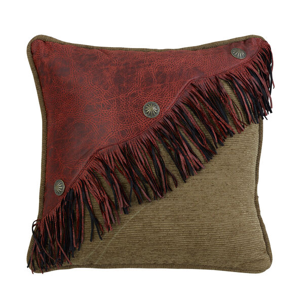 San Angelo Tan and Red Faux Leather 18 x 18 In. Throw Pillow, image 1