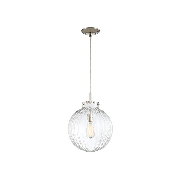 Whittier Polished Nickel One-Light Mini Pendant with Ribbed Glass, image 3