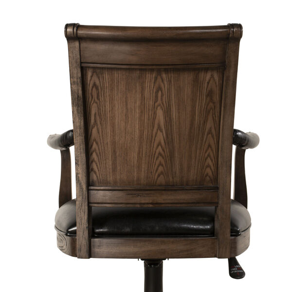 Kingston Weathered Walnut And Black Leather Wooden Desk Chair With Arm And Caster, image 4