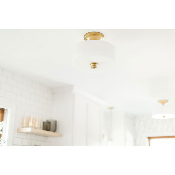 Bridgewater Gold Two-Light Drum Semi-Flush Mount, image 3