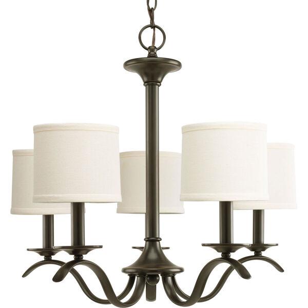 Inspire Antique Bronze Five-Light Chandelier with Beige Linen Shade Linen Shades, image 1