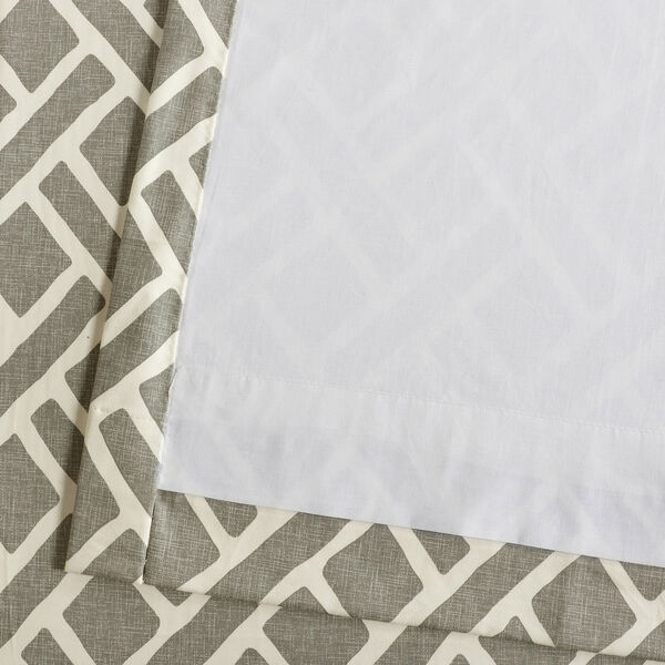 Martinique Grey 84 in. x 50 in. Printed Cotton Curtain Panel, image 6