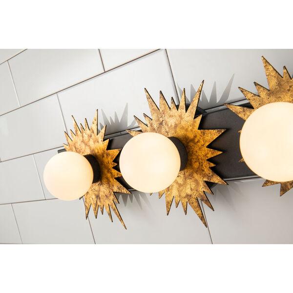 Soleil Weather Zinc Gold Leaf with Antique Three-Light LED Bath Vanity, image 2