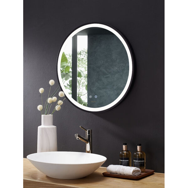 Cirque Black 24-Inch Round LED Framed Mirror with Defogger and Dimmer, image 3