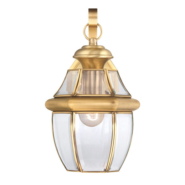 Newbury Polished Brass 14-Inch Outdoor Wall Lantern, image 3