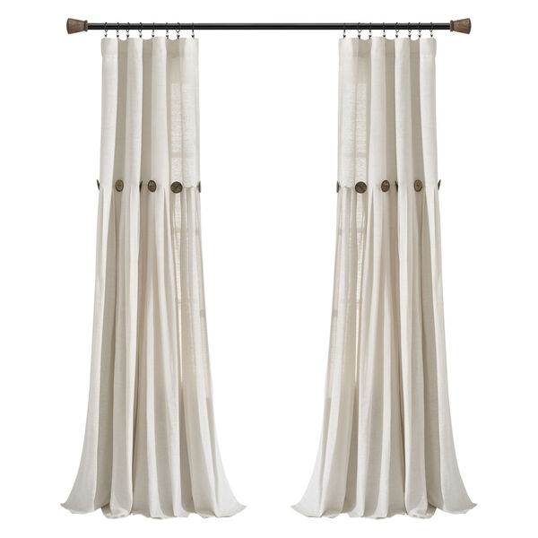 Linen Button Off White 40 x 95 In. Single Window Curtain Panel, image 5