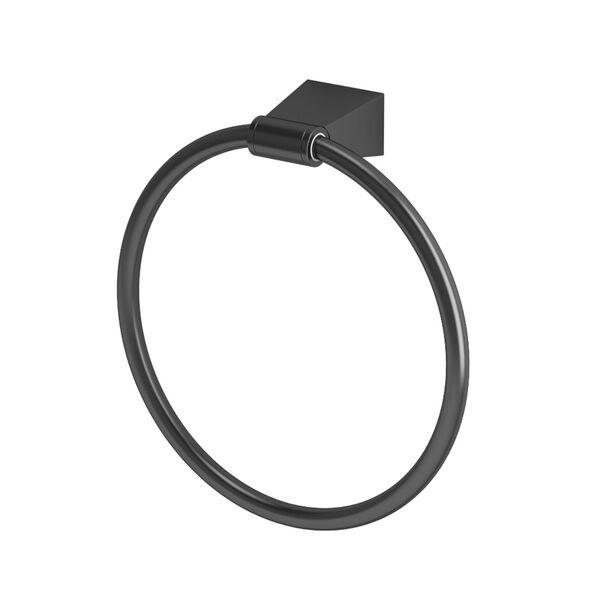 Bleu Matte Black Towel Ring, image 1