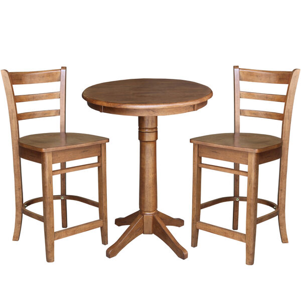 Emily Distressed Oak 30-Inch Round Top Pedestal Table with Two Counter Height Stool, Set of Three, image 2