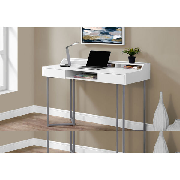 White and Silver 22-Inch Computer Desk with Three Open Cubbies, image 2