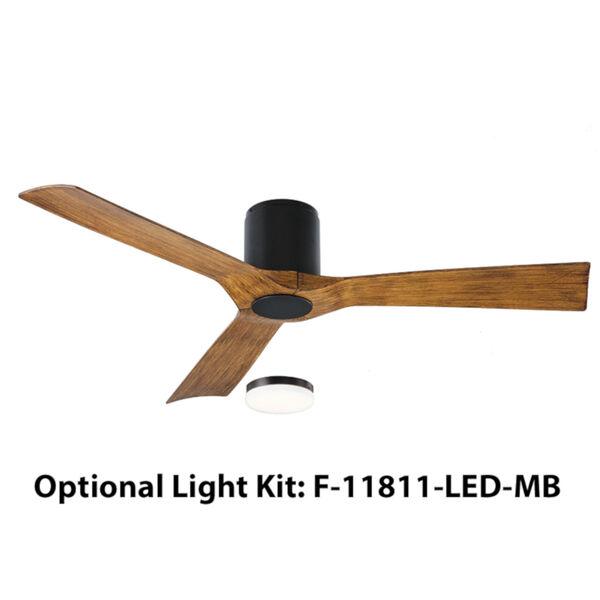 Aviator Matte Black 54-Inch 3000K LED Flush Mount Ceiling Fans, image 2