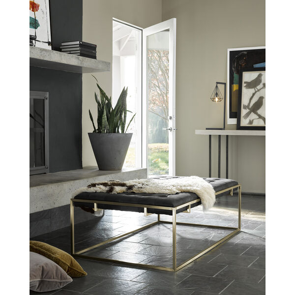Curated Black Travers Cocktail Ottoman in Burnham Black Leather, image 1