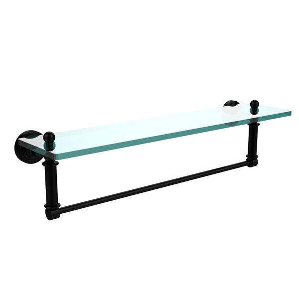 Waverly Place Matte Black 22x5 Glass Shelf w/ Towel Bar, image 1