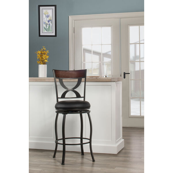 Stockport Pewter Finished Metal and Brown Counter Height Stool, image 3