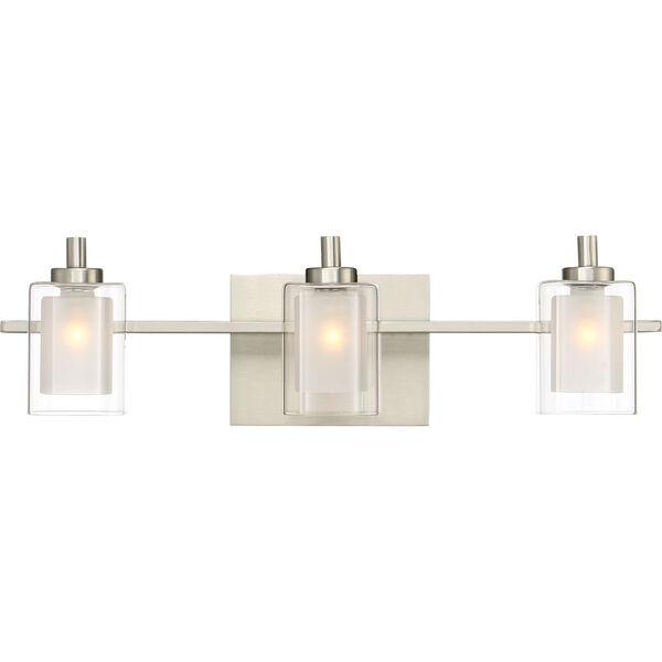 Kolt Brushed Nickel LED Three-Light Bath Light, image 1