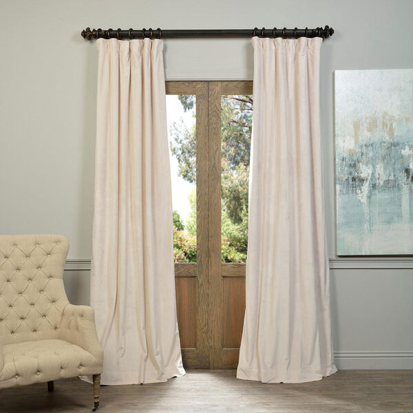 Alabaster Beige Blackout Velvet Pole Pocket Single Panel Curtain, 50 X 84, image 1