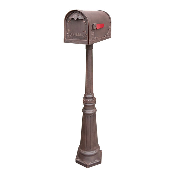 Floral Curbside Copper Mailbox with Tacoma Mailbox Post Unit, image 1