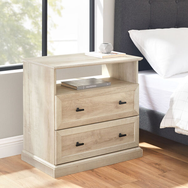 Clyde White Oak Nightstand with Two Drawers, image 4