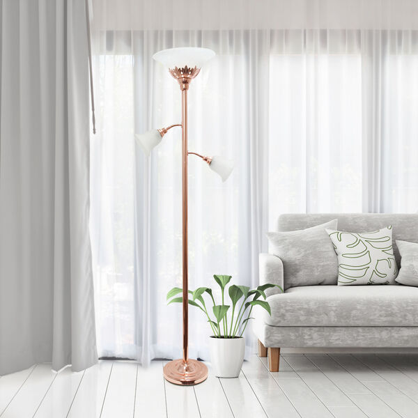 Quince Rose Gold White Shade Three-Light Floor Lamp, image 4
