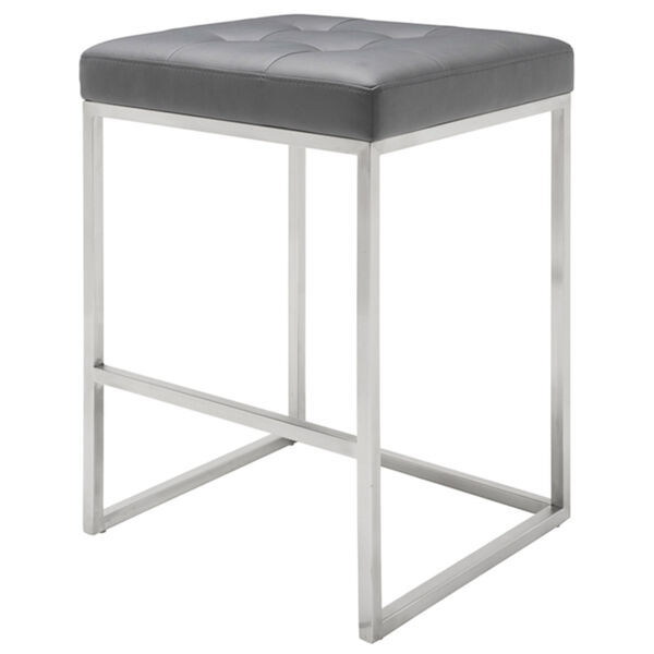 Chi Matte Gray and Silver Counter Stool, image 1