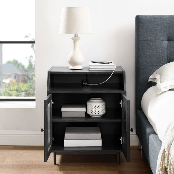 Graphite Fluted Glass Two Door Nightstand with USB, image 3